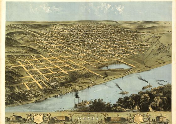 Birdseye View Map of Omaha, Nebraska, United States of America Print/Poster (5421)